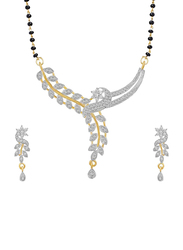 Youbella 2-Piece Ethnic Gold Plated Mangalsutra Pendant Necklace with Chain and Earrings Set for Women with Diamond, Gold/Black/Silver