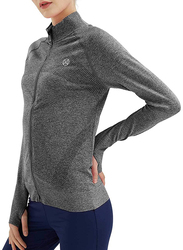 Specialmagic Long Sleeve Athletic Workout Jacket with Thumb Holes for Women, Small, Grey