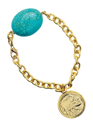American Coin Treasures 24K Gold Layered Buffalo Nickel Coin Western Charm Bracelet for Women, with Turquoise Stone, Gold/Blue