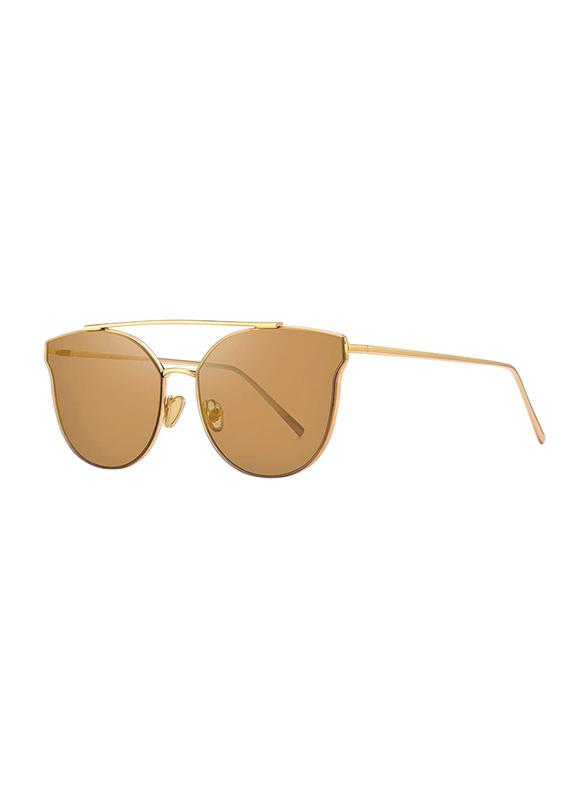 Merry's Full Rim Cat Eye Gold Sunglasses for Women, Mirrored Brown Lens, S8089, 56/19/138