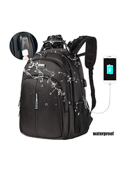 Eybf 17-inch Backpack Laptop Bag with USB Charging Port, Water Resistant, Black