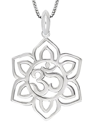 925 Collections 18-Inch Sterling Silver Lotus Flower Yoga Om Aum Ohm Symbol Pendant Necklace for Women, Silver