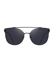 Merry's Full Rim Cat Eye Black Sunglasses for Women, Mirrored Black Lens, S8089, 56/19/138