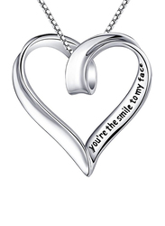 YFN 925 Sterling Silver You're The Smile To My Face & The Beat To My heart Open Heart Shape Pendant Necklace for Women, Silver
