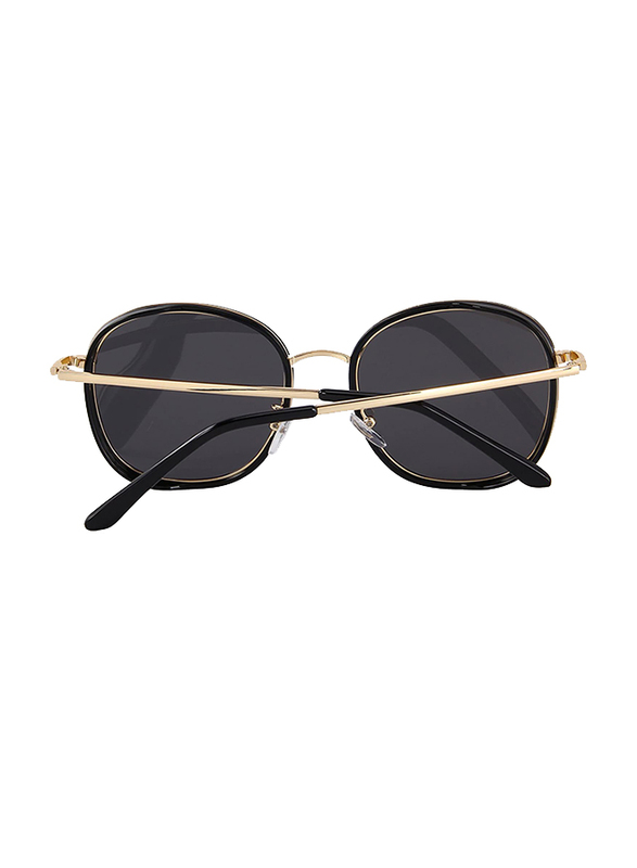 Merry's Polarized Oversized Retro Temple Full-Rim Round Black/Gold Sunglasses for Women, Silver Lens, S6108, 53/22/148