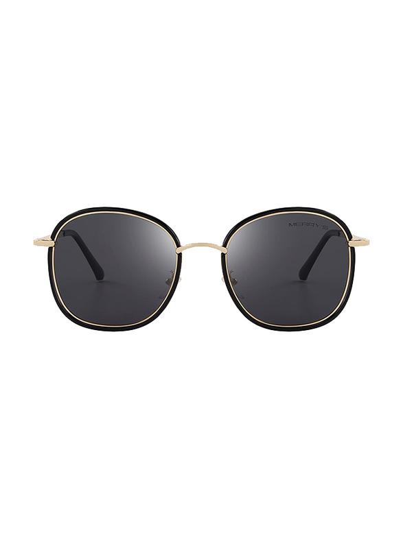 Merry's Polarized Oversized Retro Temple Full-Rim Round Gold/Black Sunglasses for Women, Black Lens, S6108, 53/22/148