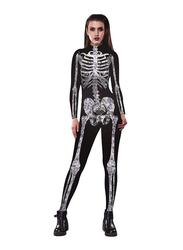 Urvip Halloween Skeleton Skinny Stretch Costume Jumpsuit/Bodysuit for Women, Large, Black