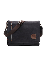 Egoelife 15-inch Casual High Quality Canvas Satchel Messenger Bag for Traveling Camping, LB-BBPHF18, Black