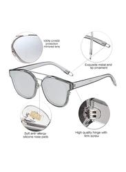 Sojos Oversized Crossbar Full-Rim Square Silver Sunglasses for Women, Mirrored Silver Lens, SJ2038, 61/14/157