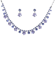 Alilang 2-Pieces 925 Sterling Silver Jewellery Set for Women with Hibiscus Flower Drop Statement Necklace & Earrings with Swarovski Crystal Stone, Purple