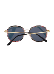 Merry's Polarized Oversized Retro Temple Full-Rim Round Flower Sunglasses for Women, Pink Lens, S6108, 53/22/148