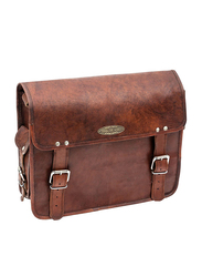 Handmade 15-inch World Leather Laptop Messenger Bags, Brown