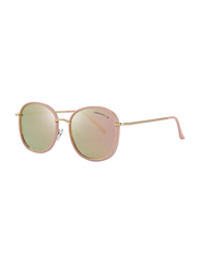 Merry's Polarized Oversized Retro Temple Full-Rim Round Pink/Gold Sunglasses for Women, Pink Lens, S6108, 53/22/148