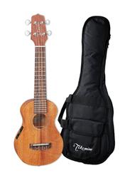 Takamine EGU-S1 Soprano Acoustic Electric Ukulele with Bag, Rosewood Fingerboard, Satin Natural/Black