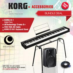Korg D1 Digital Piano with Accessories Bundle, 88 Keys, Black