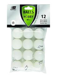 Sunflex Hobby 40+ Table Tennis Balls, 20806, 12 Pieces, White