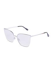 Tom Ford Full-Rim Cat Eye Silver Sunglasses for Women, Mirrored Silver Lens, TF653, 59/15/140