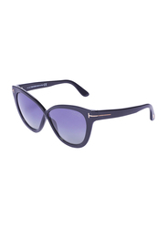 Tom Ford Polarized Full-Rim Cat Eye Black Sunglasses for Women, Grey lens, TF511, 59/11/140