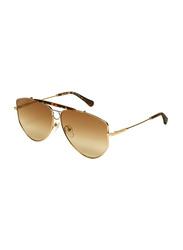 Salvatore Ferragamo Full-Rim Oval Gold Sunglasses for Women, Brown Lens, SF241S, 61/11/140