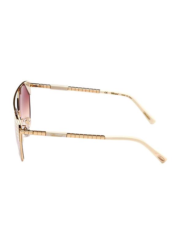 Chopard Full Rim Cat Eye Gold/White Sunglasses for Women, Mirrored Purple Lens, SCHC40, 57/17/135
