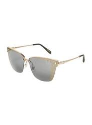 Chopard Half-Rim Cat Eye Gold Sunglasses for Women, Grey Lens, SCHC19S, 65/13/135