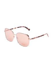 Tom Ford Full-Rim Square Shiny Rose Gold Sunglasses for Women, Mirrored Gold Lens, TF722-K, 59/17/145