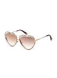 Chloe Full Rim Heart Gold Sunglasses for Women, Mirrored Peach Lens, CE131S, 61/16/140