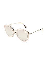 Tom Ford Full-Rim Cat Eye Gold Sunglasses for Women, Mirrored Gold Lens, TF604, 55/22/140
