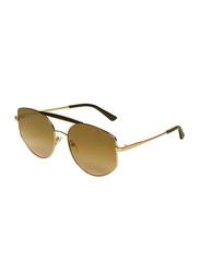 Karl Lagerfeld Full-Rim Oval Gold Sunglasses for women, Mirrored Brown Lens, KL321S, 57/17/135