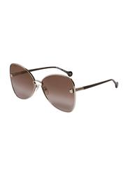 Salvatore Ferragamo Full-Rim Butterfly Brown/Gold Sunglasses for Women, Brown Lens, SF184S, 64/15/140