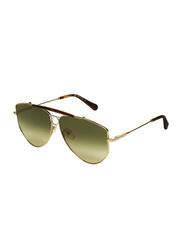Salvatore Ferragamo Full-Rim Oval Gold Sunglasses for Women, Green Lens, SF241S, 61/11/140
