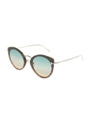 Tom Ford Full-Rim Cat Eye Gold Sunglasses for Women, Blue Lens, TF683, 63/14/145