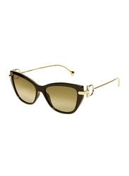 Salvatore Ferragamo Full-Rim Cat Eye Black/Gold Sunglasses for Women, Grey Lens, SF928S, 55/15/140