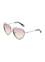 Chloe Full Rim Heart Gold Sunglasses for Women, Pink Lens, CE131S, 61/16/140