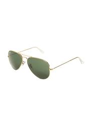 Ray-Ban Full-Rim Aviator Gold Unisex Sunglasses, Green Lens, RB3025, 55/14/135