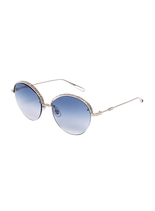 Chopard Half-Rim Oval Silver Sunglasses for Women, Blue Lens, SCHC46S, 57/18/135
