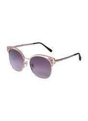 Chopard Full Rim Cat Eye Gold Sunglasses for Women, Purple Lens, SCHC24S, 57/17/140