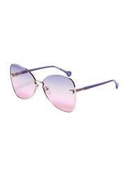 Salvatore Ferragamo Full-Rim Butterfly Gold/Purple Sunglasses for Women, Blue/Pink Lens, SF184S, 64/15/140