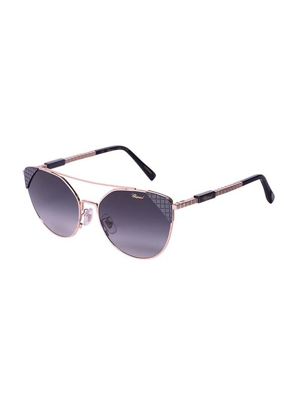 Chopard Full Rim Cat Eye Gold/Black Sunglasses for Women, Grey Lens, SCHC40, 57/17/135