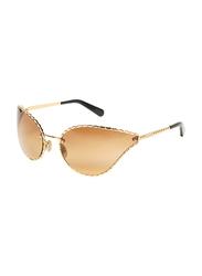 Roberto Cavalli Full-Rim Cat Eye Gold Sunglasses for Women, Brown Lens, RC1124, 71/21/120