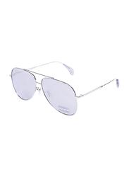 Police Full-Rim Aviator Silver Sunglasses for Women, Mirrored Silver Lens, SPL934, 60/12/135