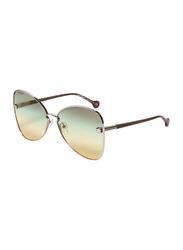 Salvatore Ferragamo Full-Rim Butterfly Brown/Gold Sunglasses for Women, Yellow Lens, SF184S, 64/15/140