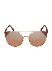 Chopard Full Rim Cat Eye Gold/Brown Sunglasses for Women, Mirrored Brown Lens, SCHC40, 57/17/135