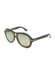 Tom Ford Full-Rim Oval Dark Havana Sunglasses for Women, Green Lens, TF514, 56/16/140