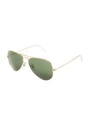 Ray-Ban Full-Rim Aviator Gold Unisex Sunglasses, Green Lens, RB3025, 58/14/135