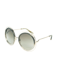 Chloe Full-Rim Round Gold Sunglasses for Women, Grey Lens, CE120S, 58/23/135