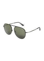 Tom Ford Polarized Full-Rim Aviator Black Unisex Sunglasses, Black Lens, TF621, 59/17/145