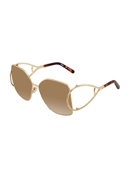 Chloe Full Rim Butterfly Gold Sunglasses for Women, Mirrored Brown Lens, CE135S, 63/15/135
