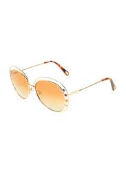 Chloe Full-Rim Round Gold Sunglasses for Women, Mirrored Brown Lens, CE169S, 57/16/140