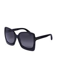 Tom Ford Full-Rim Oversized Black Sunglasses for Women, Black Lens, TF618, 60/19/135